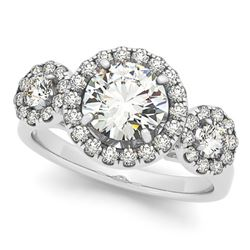 1.75 CTW Certified VS/SI Diamond Solitaire Halo Ring 18K White Gold - REF-416A2V - 26179