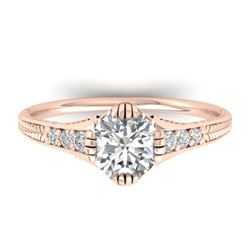 1.25 CTW Certified VS/SI Diamond Solitaire Art Deco Ring 14K Rose Gold - REF-347Y3X - 30523