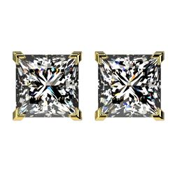 2.50 CTW Certified VS/SI Quality Princess Diamond Stud Earrings 10K Yellow Gold - REF-840A2V - 33116