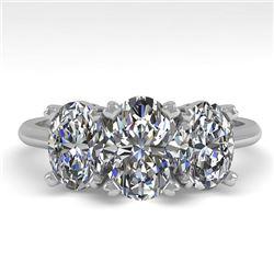 2.0 CTW Oval Cut VS/SI Diamond 3 Stone Designer Ring 18K White Gold - REF-390V2Y - 32469