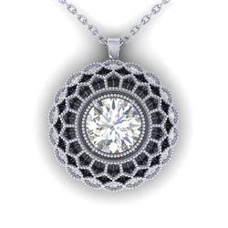 1.25 CTW Certified VS/SI Diamond Art Deco Necklace 14K White Gold - REF-360W4H - 30558