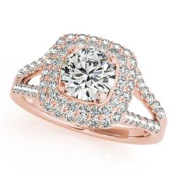 1.53 CTW Certified VS/SI Diamond Solitaire Halo Ring 18K Rose Gold - REF-239V3Y - 26465