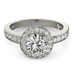 1.40 CTW Certified VS/SI Diamond Solitaire Halo Ring 18K White Gold - REF-383A8V - 26970