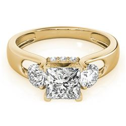 1.35 CTW Certified VS/SI Princess Cut Diamond 3 Stone Ring 18K Yellow Gold - REF-238Y2X - 28034