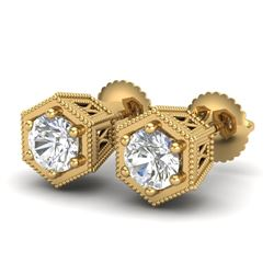 1.15 CTW VS/SI Diamond Solitaire Art Deco Stud Earrings 18K Yellow Gold - REF-174A5V - 37219
