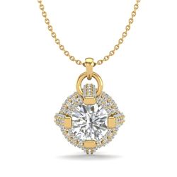 1.57 CTW VS/SI Diamond Micro Pave Stud Necklace 18K Yellow Gold - REF-229A3V - 36955