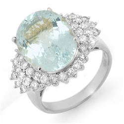 9.25 CTW Aquamarine & Diamond Ring 18K White Gold - REF-209R5K - 14515