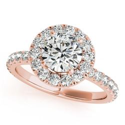 1.50 CTW Certified VS/SI Diamond Solitaire Halo Ring 18K Rose Gold - REF-230M2F - 26297