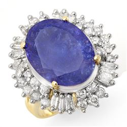 12.75 CTW Tanzanite & Diamond Ring 14K Yellow Gold - REF-455K6W - 14436
