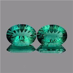 Natural Emerald Green Blue Fluorite Pair 27.95 Ct