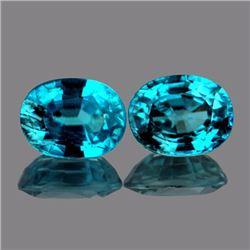 Natural AAA Blue Zircon Pair 8x6 Mm{Flawless-VVS1}