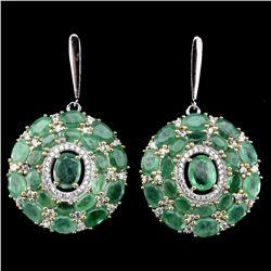 Natural Top Green Emerald 92 Carats  Earrings