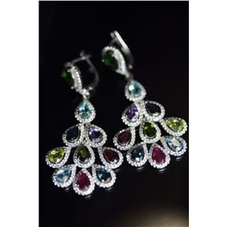 Natural SAPPHIRE RUBY TOPAZ RHODOLITE Earrings