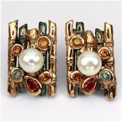 Natural Pearl & Sapphire Two Tone Earrings