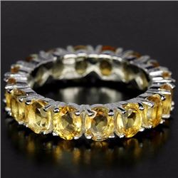 Natural Yellow Citrine Eternity Band Ring