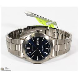 NEW MENS BLUE FACE STAINLESS SEIKO WATCH
