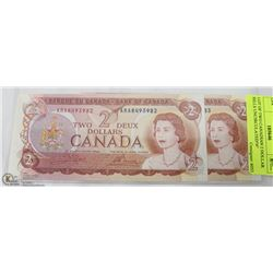 LOT OF TWO CANADIAN 2 DOLLAR BILLS UNCIRCULATED