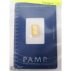 PAMP .999 ONE GRAM GOLD BAR