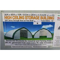 30 FT BY 65 FT BY 15 FT HIGH CEILING STORAGE BUILDING WITH 12 FT DRIVE THROUGH DOOR AT BOTH ENDS