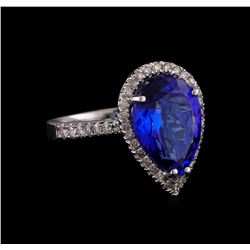 14KT White Gold 5.93 ctw Tanzanite and Diamond Ring