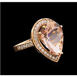 10.03 ctw Morganite and Diamond Ring - 14KT Rose Gold