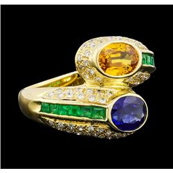 1.40 ctw Sapphire, Emerald and Diamond Ring - 18KT Yellow Gold