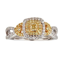 0.74 ctw Yellow and White Diamond Ring - 18KT White and Yellow Ring