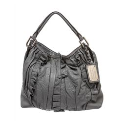 Dolce & Gabbana Gray Leather Ruffle Miss Brooke Ruffle Shoulder Bag