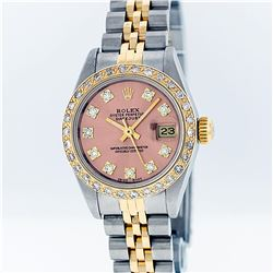 Rolex Two-Tone VVS Salmon Diamond DateJust Ladies Watch