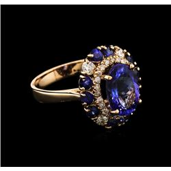 3.20 ctw Tanzanite, Blue Sapphire and Diamond Ring - 14KT Rose Gold