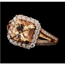 1.92 ctw Morganite and Diamond Ring - 14KT Rose Gold