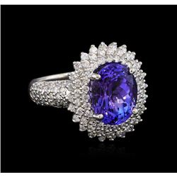 5.75 ctw Tanzanite and Diamond Ring - 14KT White Gold