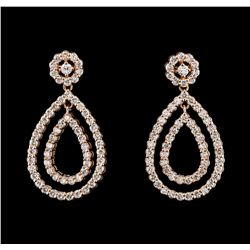 1.51 ctw Diamond Earrings - 14KT Rose Gold