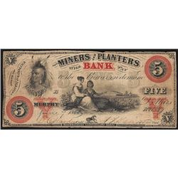 June 7, 1860 $5 The Miners & Planters Bank Obsolete Note