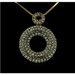 Pave Crystal Open Circle Pendant - Gold Plated