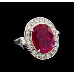GIA Cert 4.07 ctw Ruby and Diamond Ring - 14KT White Gold