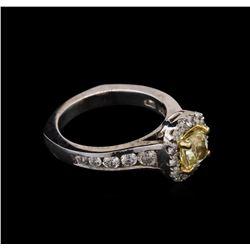 1.94 ctw Light Yellow Diamond Ring - 14KT White Gold