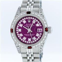 Rolex Stainless Steel Purple String Diamond VVS DateJust Ladies Watch