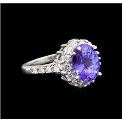 14KT White Gold 3.10 ctw Tanzanite and Diamond Ring