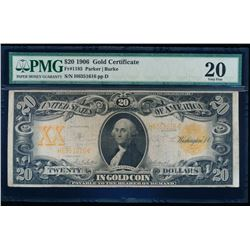 1906 $20 Large Gold Certificate PMG 20