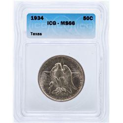 1934 Texas Commemorative Half Dollar Coin ICG MS66