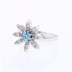 14KT White Gold 0.47ct Blue Topaz and Diamond Ring