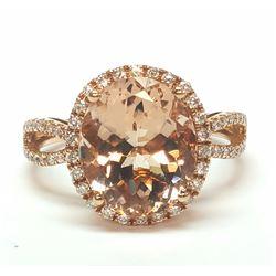 14KT Rose Gold 4.00ct Morganite and Diamond Ring