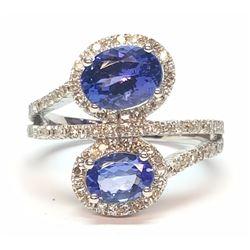 10KT White Gold 2.30ctw Tanzanite and Diamond Ring