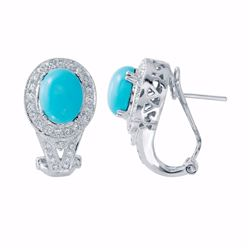 14KT White Gold 3.63ctw Turquoise and Diamond Earrings