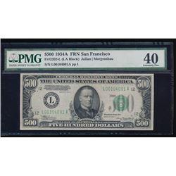 1934A $500 San Francisco Federal Reserve Note PMG 40