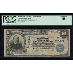 1902 $10 Springfield National Bank Note PCGS 10