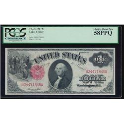 1917 $1 Legal Tender Note PCGS 58PPQ