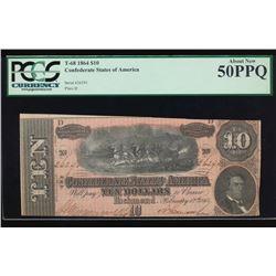 1864 $10 Confederate Sates of America Note PCGS 50PPQ