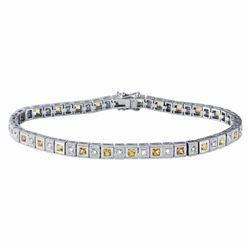 14KT White Gold 2.09ctw Yellow Sapphire and Diamond Bracelet